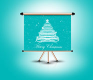 condizione 3d dell'albero di Natale, fondo blu Immagine Stock Libera da Diritti