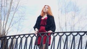 Condizione dai capelli rossi della ragazza vicino all'inferriata archivi video