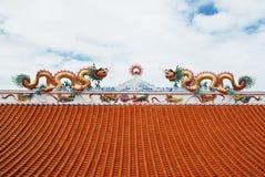 Condizione del drago sul tetto fotografia stock libera da diritti