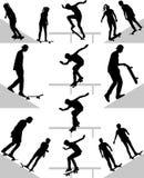 Condizione del skateboarder silhouette Fotografie Stock Libere da Diritti