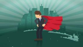 Condizione del supereroe sul fondo della città Vicino ad una nuvola del simbolo di affari della polvere Concetto di risultato e d royalty illustrazione gratis