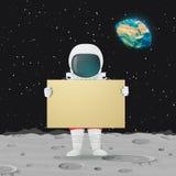 Condizione dell'astronauta sulla superficie della luna che tiene grande segno Spazio cosmico, terra e stelle nei precedenti illustrazione di stock