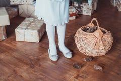 Condizione della ragazza all'albero di Natale Sul pavimento di legno c'è una scatola con i regali Le gambe sono vestite nei calzi fotografia stock