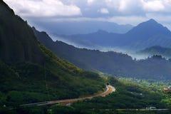 condizione della sosta di pali di nuuanu o dell'Hawai di ahu Fotografia Stock