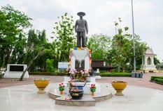Condizione della statua di re Rama 5 come punto di riferimento del distretto del ` di Minburi del ` di Bangkok Immagine Stock