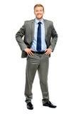 Condizione felice dell'uomo d'affari isolata su bianco Fotografie Stock