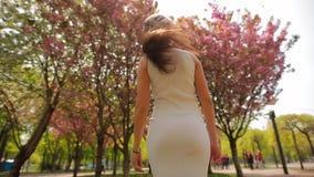 Condizione felice della donna nel parco di estate che lancia capelli video d archivio