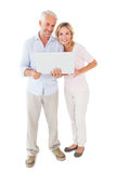 Condizione felice delle coppie ed usando computer portatile insieme Fotografie Stock Libere da Diritti