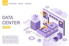 Condizione isometrica della persona in mezzo di grandi dispositivi digitali di archiviazione di dati sul homepage dell'illustrazi illustrazione di stock