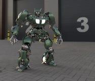 Condizione mech del soldato di fantascienza su un fondo del paesaggio Robot futuristico militare con un verde e un metallo grigio royalty illustrazione gratis