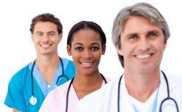 Condizione sorridente del gruppo di medici Immagini Stock Libere da Diritti
