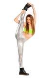Condizione spaccata della donna di forma fisica Isolato su bianco, png disponibile Fotografia Stock