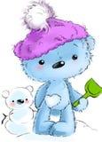 Condizione sveglia del carattere dell'orsacchiotto, giocante l'illustrazione del fumetto isolata su fondo bianco illustrazione di stock