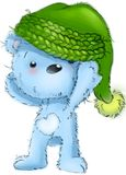 Condizione sveglia del carattere dell'orsacchiotto, seduta, giocante, illustrazione del fumetto isolata su fondo bianco illustrazione vettoriale