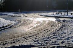 Condizioni stradali ghiacciate Fotografie Stock