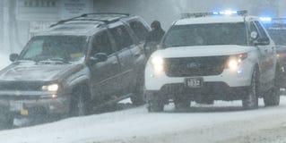 Condizioni stradali tempesta 3-14-2017 di inverno di pasqua del ` né - Immagine Stock Libera da Diritti