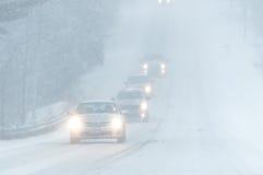 Condizioni stradali tempesta 3-14-2017 di inverno di pasqua del ` né - Fotografie Stock