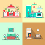 Condo accommodation kitchen bedroom living room in Royalty Free Stock Images