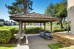 Condo apartment homes overlooking a small lake with a gazebo. Northwest, USA Stock Image