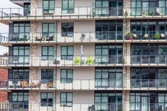 Condo Balconies with Chairs stock photography