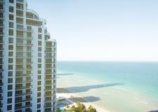 Condo building in Miami Beach, Florida. Condo building in Miami Beach, Florida, toned image, copy-space background stock images