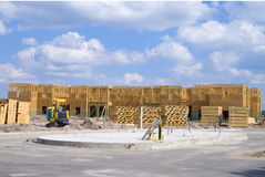Condo Construction. Two story frame condos under construction and a clear day stock photography