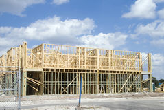 Condo Construction. Two story frame condos under construction and a clear day royalty free stock photos