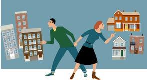 Condo or house. Young couple deciding between a condo and a house, EPS 8 vector illustration stock illustration