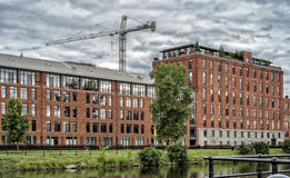 Condo Lachine Canal. Residential condo project located on the shores of the Lachine Canal in historic Griffintown. It creates an oasis of calm that is just stock image