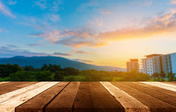 Condo and mountain on sunset time. Stock Photo