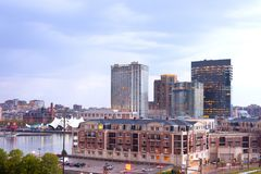 Condo and office and apartment buildings on Baltimore Inner Harbor. Baltimore, Maryland, United States - April 11, 2011: Condo and office and apartment buildings Stock Images