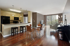 Condo with open floor plan Royalty Free Stock Images