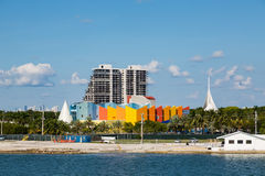 Condo Tower Past Colorful Wall in Miami. Waterfront Stock Images