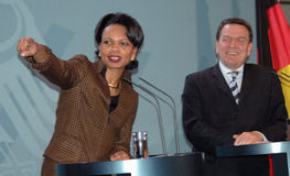 Condoleezza Rice and Gerhard Schroeder Stock Photography