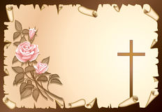 Condolence. Illustration rose with cross, vellum on brown background vector illustration