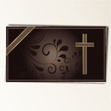Condolence card. In with a  cross and space for text Royalty Free Stock Photography
