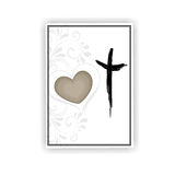 Condolence card. With heart and cross Stock Image