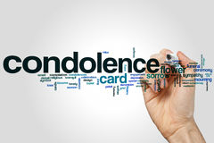 Condolence word cloud concept on grey background Royalty Free Stock Photo