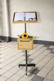 Condolences Book with Sun Flower and Ivy Royalty Free Stock Image