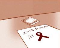 Condom illustration in red tones Stock Images