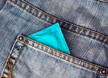 Condom. In a jeans pocket Stock Image