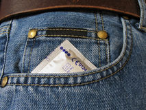 Condom. In the front pocket of a blue jean Royalty Free Stock Photo
