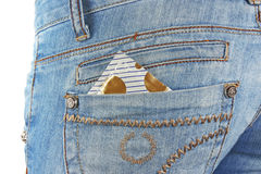 Condom in back pocket Royalty Free Stock Photos