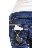 Condom in the back pocket of blue jeans Royalty Free Stock Photography