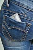 Condom in back pocket Royalty Free Stock Image