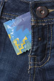 Condom in the blue jeans. Fly a pants Stock Photo
