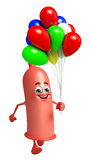 Condom Character with balloons Royalty Free Stock Image
