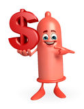 Condom Character with dollar sign Stock Image