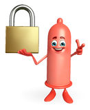 Condom Character with lock Stock Photography
