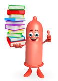 Condom Character with pile of books Stock Photography